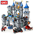 QWZ Medieval Lion Castle Knight Carriage Model World Building Blocks Set Bricks Toys for Children Gifts Compatible Legoings