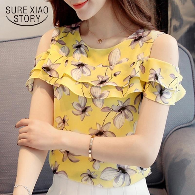 6d04c6250be0c52 Шифоновая Блузка с цветочным принтом, летняя блузка, модные топы 2018 года,  Корейская шифоновая