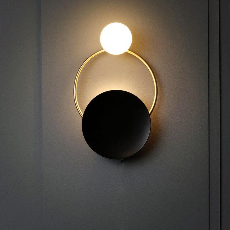 Nordic retro lâmpada de cabeceira led parede arte latão foyer fundo quarto restaurante corredor arandela iluminação frete grátis