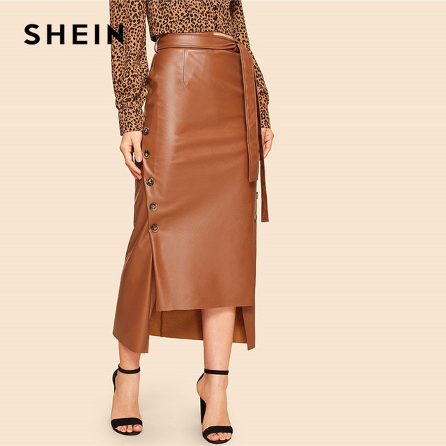 SHEIN Brown Elegant Split Hem Front Double Button Belted Leather Look Long Skirt Office Lady Solid Workwear Maxi Skirts 1