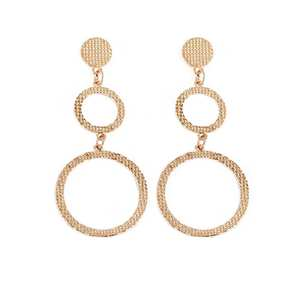 Fashion Jewelry Earrings Trend Statement Metal Vintage Large Women for Circle Golden-Color