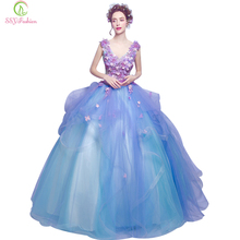Vestido De Noiva SSYFashion Blue Flower Appliques V Collar Long Quinceanera Dresses Banquet Sexy Party Gown Performance Dress