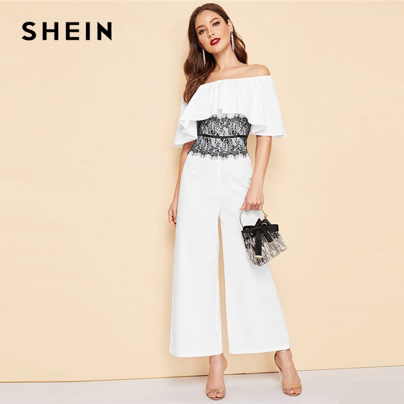 SHEIN Lace Contrast Ruffle Off The Shoulder Wide Leg   Jumpsuit   Women Elegant 2019 Summer Short Sleeve Party   Jumpsuits