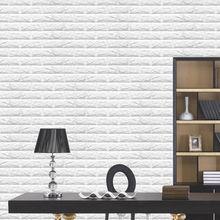 Modern White 3D Brick Pattern Home Decor Panels 10mm Thick Soft Foam Wallpaper 60x60cm