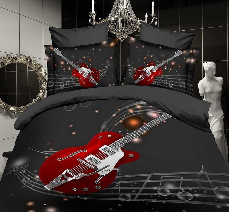④Music note negro guitarra roja juego de cama queen size sábanas