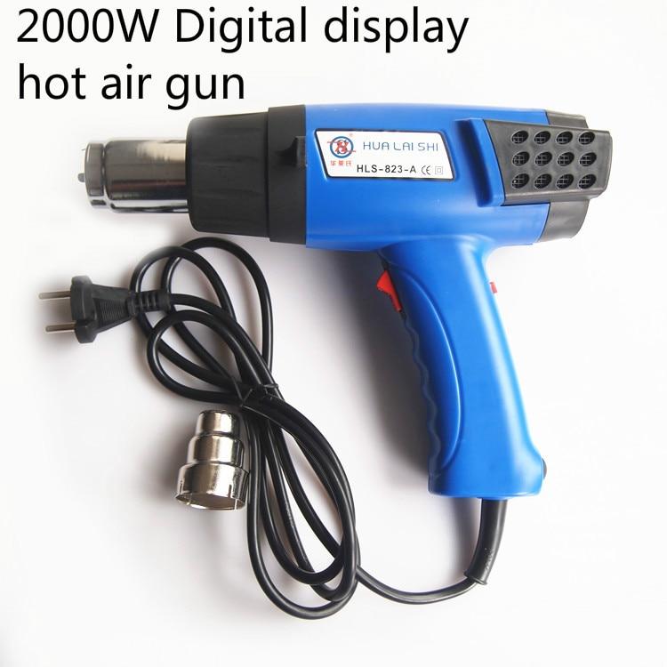 Galingas 2000 W galios skaitmeninis ekranas, turintis karšto oro pistoleto skystųjų kristalų pistoleto termostato šilumos pistoletą
