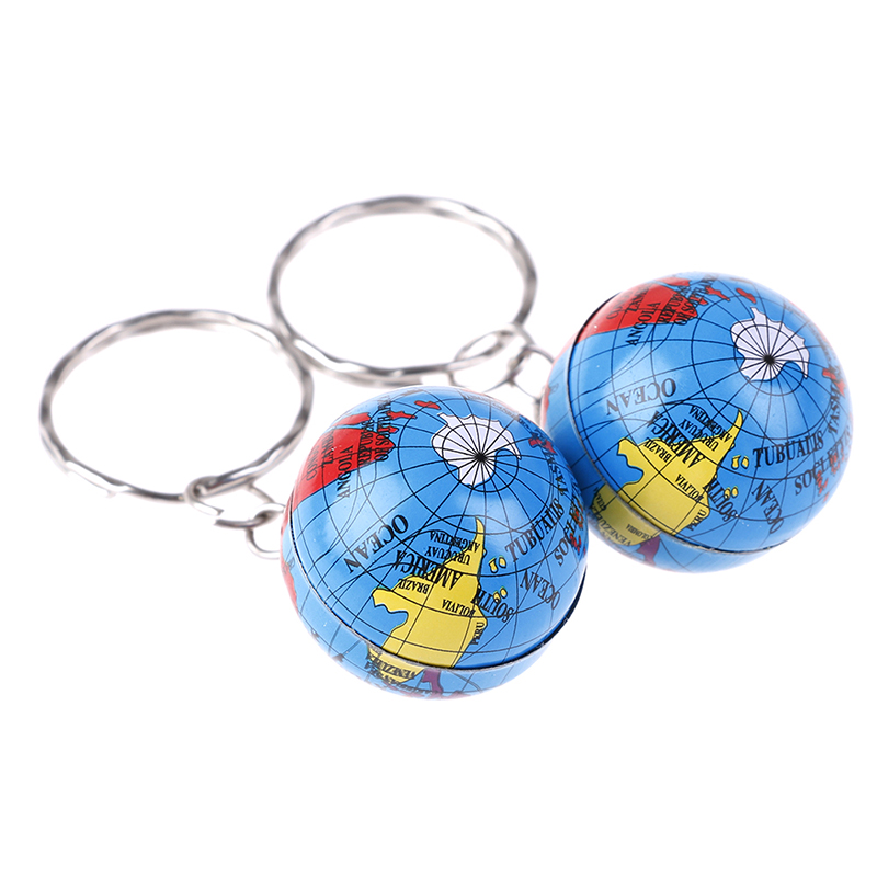 2Pcs Handmade World Map Planet Earth Geography Key Chain World Map Globe Keychain Jewelry Earth Globe Art Pendant Keychains Gift