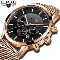 LIGE новые часы 10 мм ультра тонкий хронограф Для мужчин Нержавеющаясталь Водонепроницаемый часы кварцевые спортивные часы Relogio + коробка
