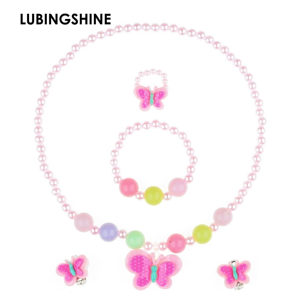 2017 Children Pretty Butterfly Jewelry Set Necklace Bracelet Ring Earrings Baby Kids Girls jewelry set JJAL T4
