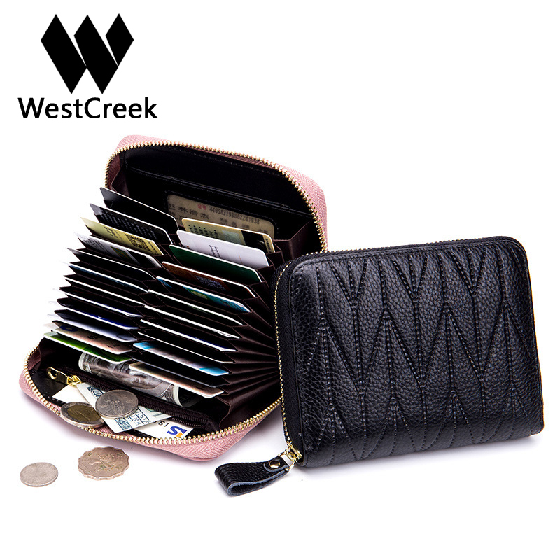Westcreek Brand Men/Women Genuine Leather RFID Zipper Credit Card Holder Passport Travel Wallet Coin Purse Business Cards Holder thinkthendo new male genuine cow leather wallet card package retro woven passport business cards holder