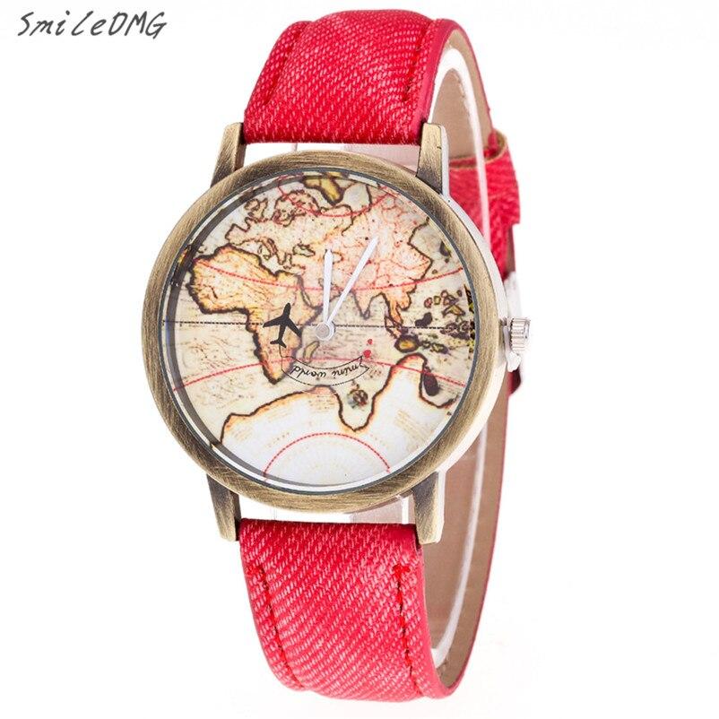 High Quality Watch Ladies Fashion Women's World Map Cowboy Band Analog Quartz Wrist Watch  Hot Sale Free Shipping,Nov 25