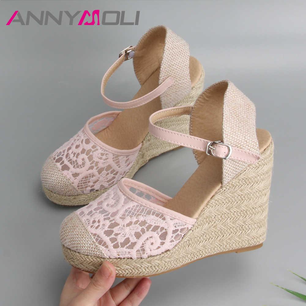 ANNYMOLI פלטפורמת טריז סנדלי נשים נעלי 2019 סנדלי בד גבוהה עקבים בוהמיה תחרה חתונה נעלי Ladie סנדלים בתוספת גודל 34- 43