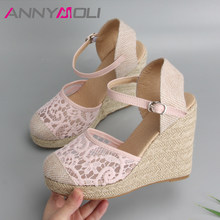 ANNYMOLI Platform Wedge Sandals Women Shoes 2019 Espadrille High Heels Bohemia Lace Wedding Shoes Ladie Sandals Plus Size 34-43(China)