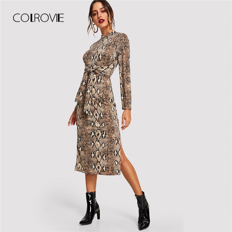 COLROVIE Mock Neck Snake Print Split Long Sleeve Sexy Dress Women Autumn Streetwear Party Dress Bodycon Casual Midi Dresses