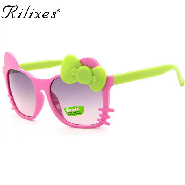 RILIXES Cute Baby Kids Sunglasses Girls Polka Dot Glass Children Bow Eyewear Gafas De Sol ninas Child Sunglasses with glass bag
