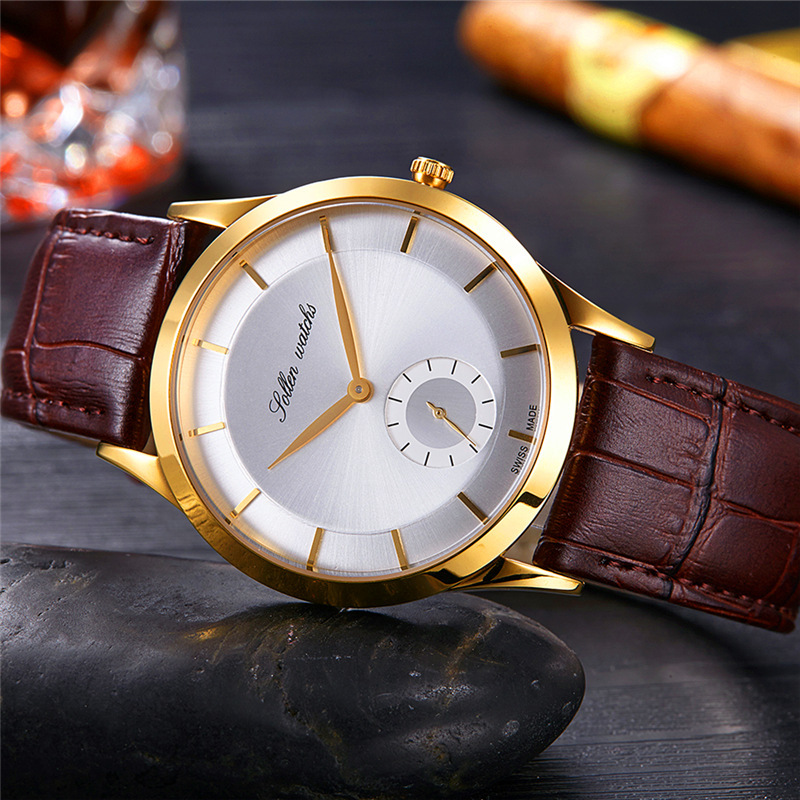 SOLLEN Top Brand Men Watches Genuine Leather Clock Luxury Gold Casual Watch Men's Sports Quartz Wrist Watch Relogio Masculino sunward relogio masculino saat clock women men retro design leather band analog alloy quartz wrist watches horloge2017