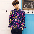 2017 new spring men fashion floral shirts men women high quality bird print shirt for lovers plus size 3XL 4XL 5XL