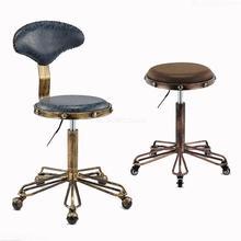 Регулируемые по высоте стулья для вышивки ногтей с высокой эластичной губкой ретро бронзовое парикмахерское кресло вращающееся подъемное кресло для красоты