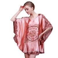 Ladies Sexy Silk Satin Nightgown Bat Sleeves Night Dress Printed Pajamas Nightwear Sleeping Dress Women Pyjama