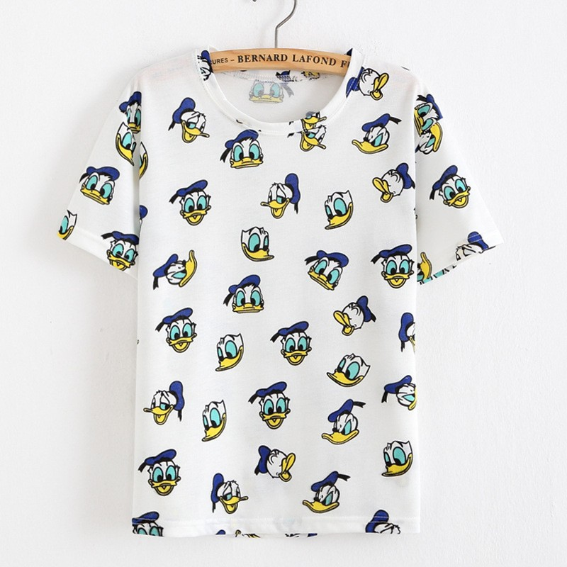 2016 New Arrival Women's Summer T-Shirt Lovely Donald Ducks Printed Basic Bottoming Short Tops 2 Colors Free Shipping