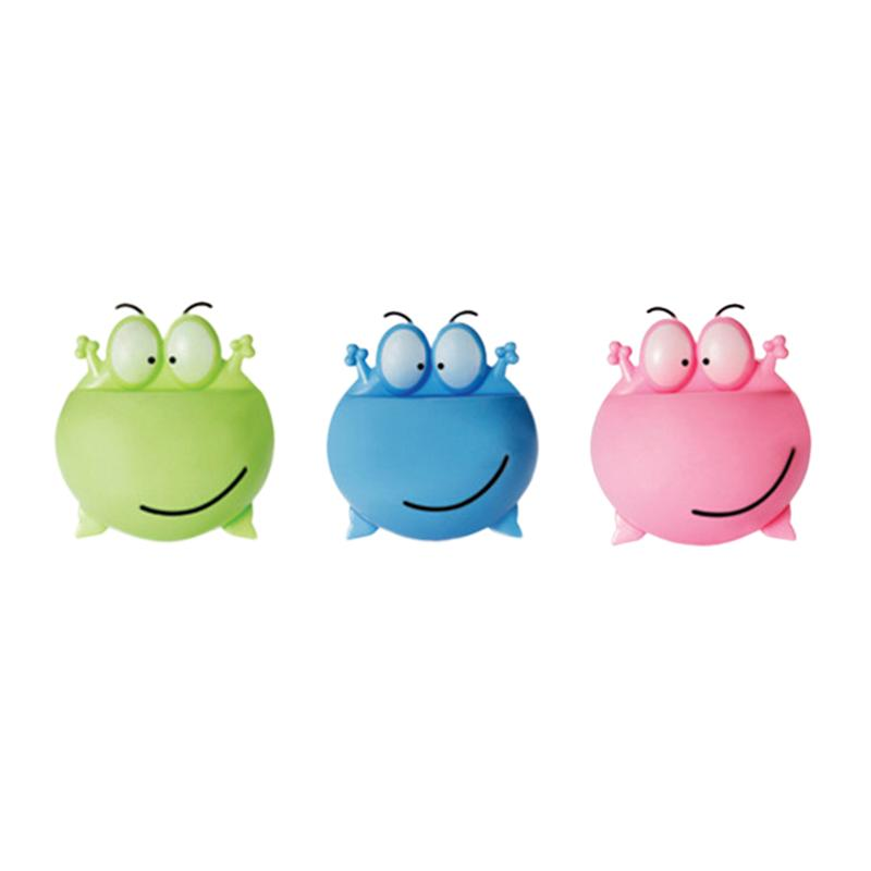 3pcs Wall Mounted Toothbrush Holder Cartoon Big Eye Frog Design Toothbrush Organizer Rack For Home Bathroom (Green+Blue+Pink)-in Toothbrush & Toothpaste Holders from Home & Garden
