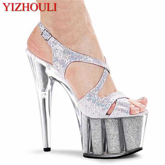 15cm colorful sexy high-heeled shoes crystal sandals shoes 6 inch stiletto  high heels Clear Platforms Silver Glitter sexy shoes 2f09cef8562b
