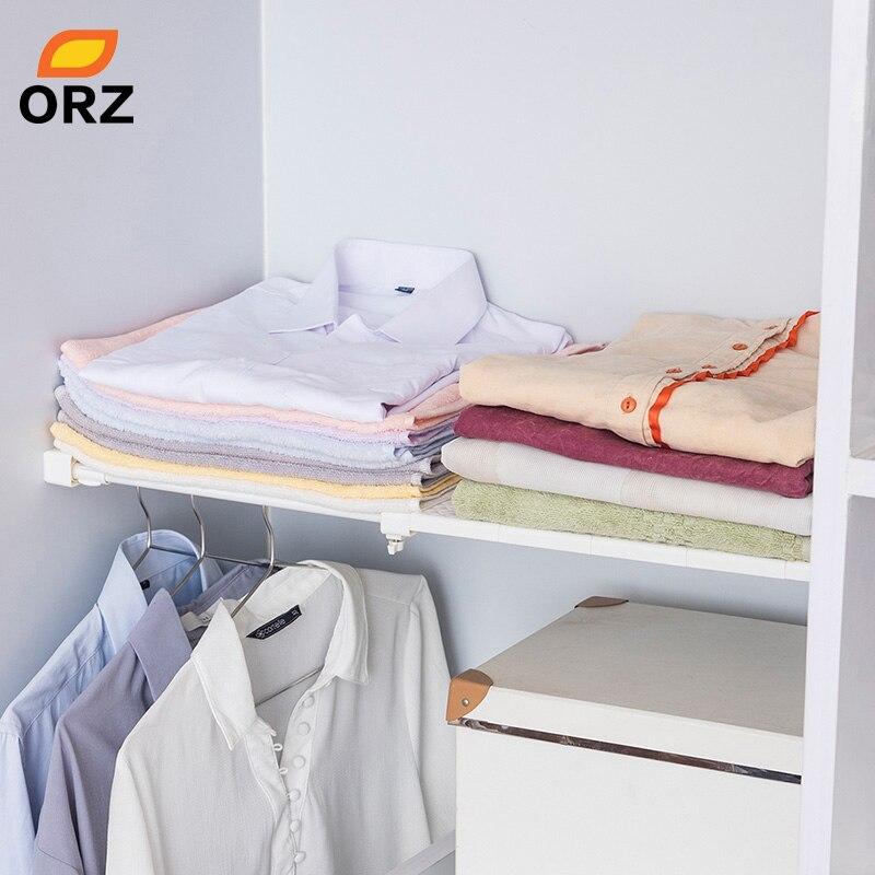 Image 2 - ORZ Retractable Closet Organizer Shelf Adjustable Kitchen Cabinet Storage Holder Cupboard Rack Wardrobe Organizer Bathroom Shelf-in Storage Holders & Racks from Home & Garden