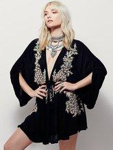Fall Women Mini Dress Deep V Neck Sexy Dress Bohemian Elegant Embroidery High Waits Dress Fashion Autumn Dress