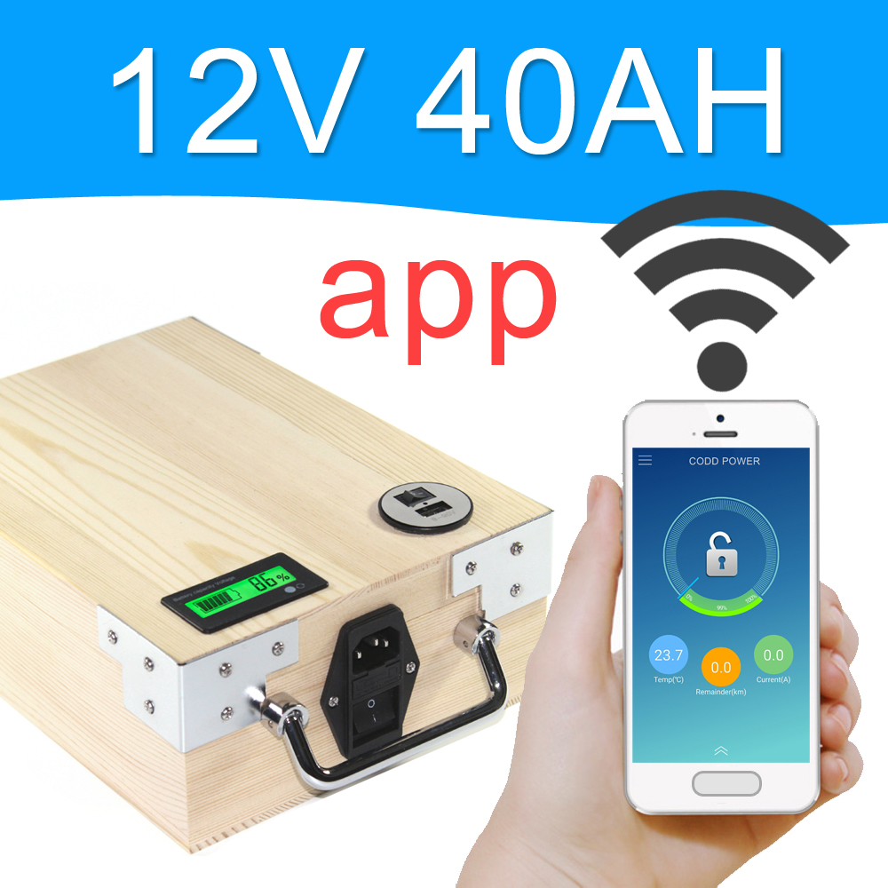 5 PCS APP 12V 40AH Electric bike LiFePO4 Battery Pack Phone control Electric bicycle Scooter ebike Power 500W Wood