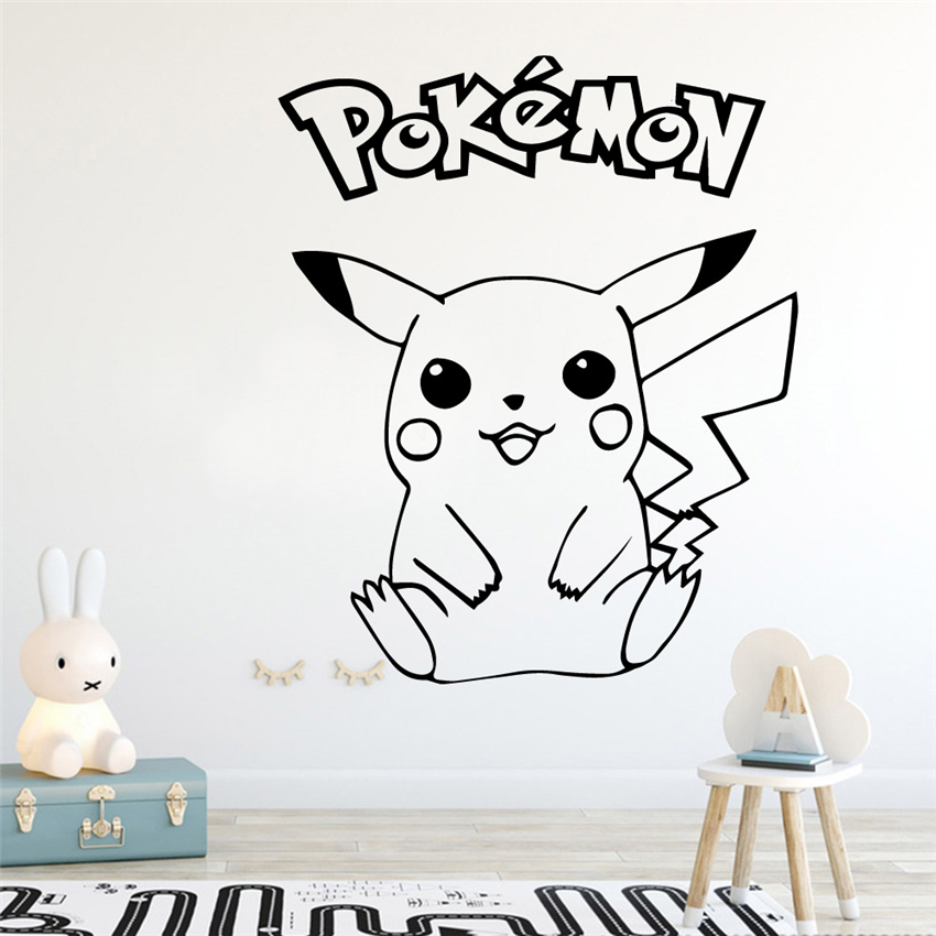 Pokemon Pikachu Anime Manga Vinyl Wall Decal Cartoon Home Decor Kids Room Bedroom Art Mural Wall Stickers Wall Sticker #A89