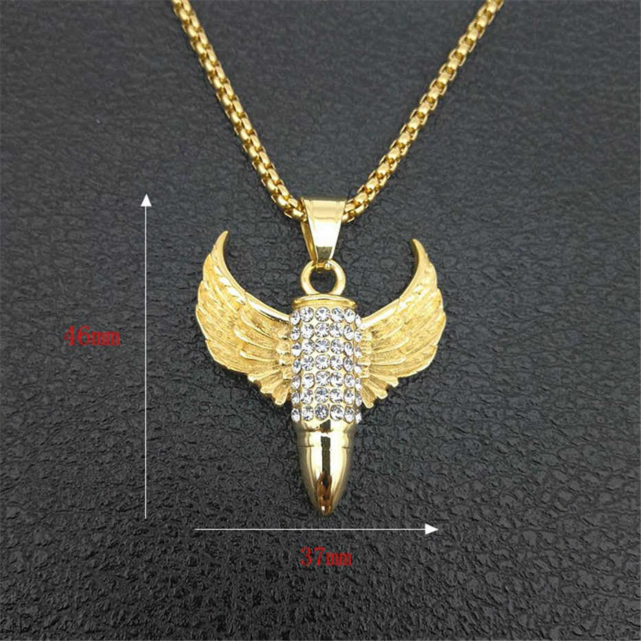 Łańcuch w stylu hip-hop Iced Out skrzydła Bullet wisiorek naszyjnik dla mężczyzn złoty kolor biżuteria męska ze stali nierdzewnej 2019