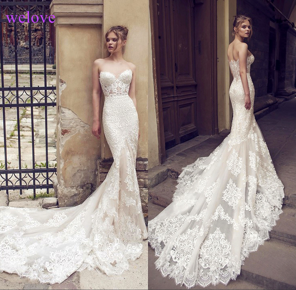 White Backless Lace Mermaid Wedding Dresses 2019  New Sexy Fishtail Wedding Gown Bride Dress Vestido De Noiva Robe De Mariage