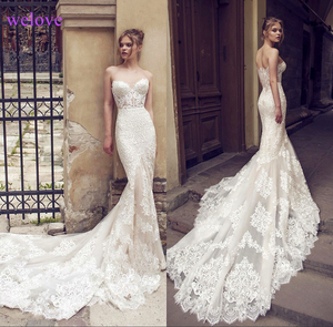 Image 1 - White Backless Lace Mermaid Wedding Dresses 2020  New Sexy Fishtail Wedding Gown Bride Dress Vestido De Noiva Robe De Mariage