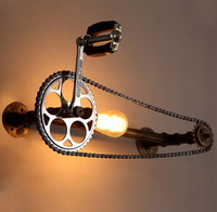 loft vintage water pipe wall lamp cafe pub bedroom livng room stair villa E27 Edison gear chain wall lamp