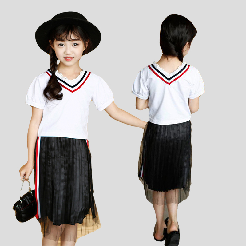Girls Outfits Cotton V-Neck T-Shirts For Girls Striped Skirts 2Pcs Summer Children Clothing Sets For Girls Teenage Suits 4-14Y
