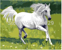 Hand painted Digital oil DIY painting on canvas wall art horse picture for living room coloring by numbers Prince Charming HY162