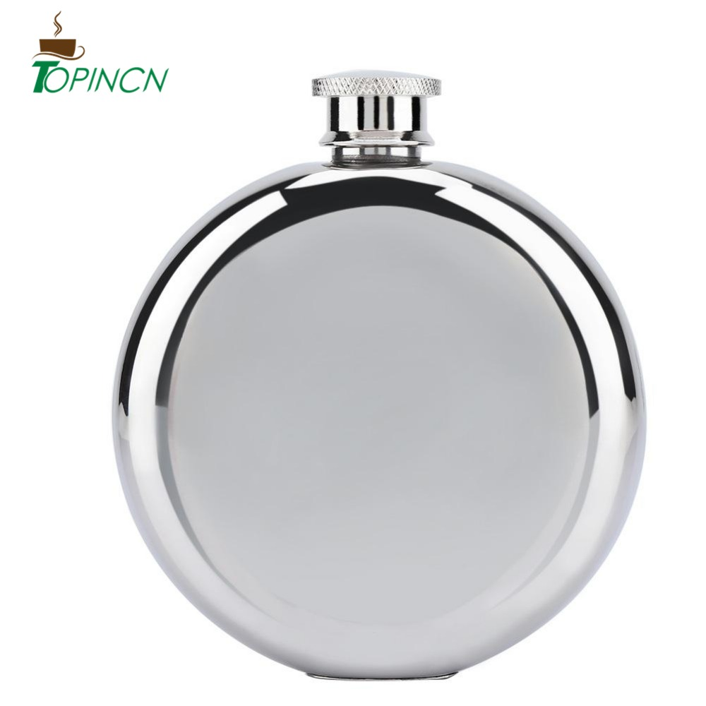 5 Oz Mirrored Smooth Hip Flask Men/'S Stainless Steel Portable Round Hip Flask#^