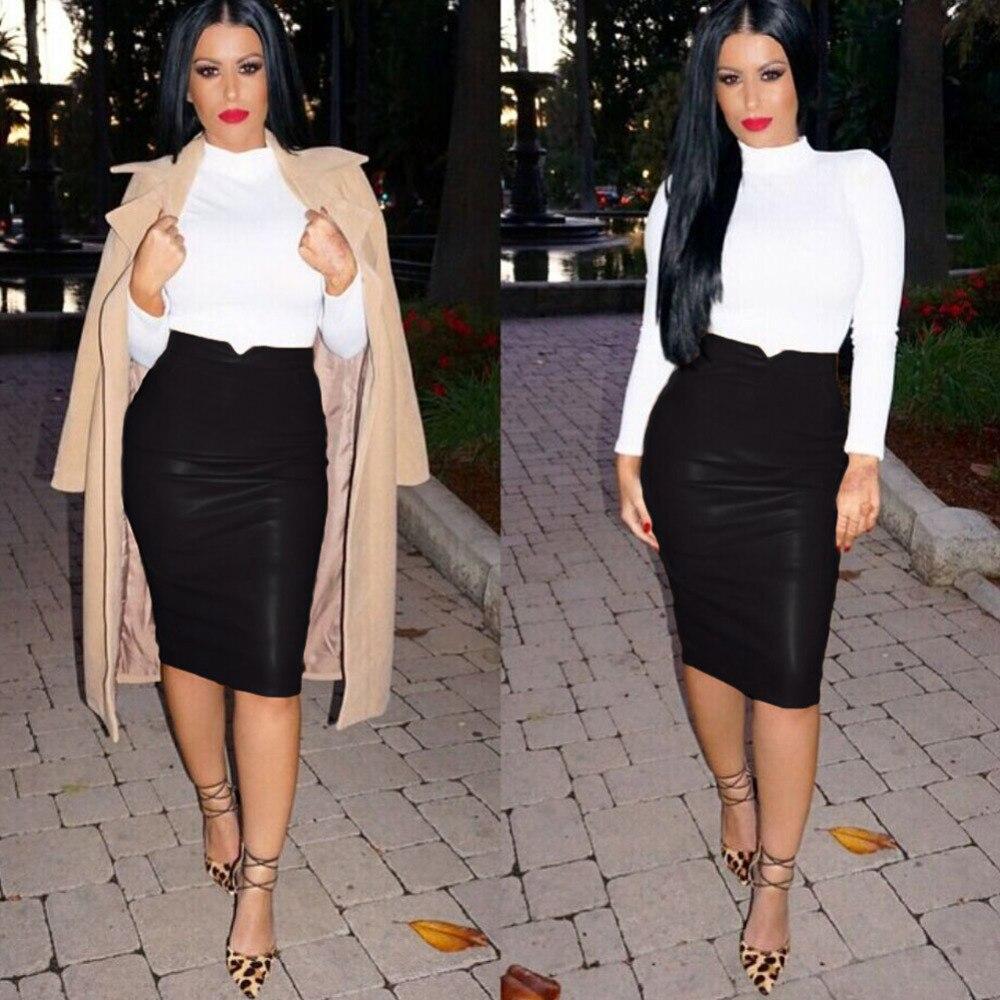 b0fae14f30ec3 Women PU Leather Skirt High Waist Pencil Skirts Womens Vintage Bodycon OL  Midi Skirt Sexy Streetwear Women Skirts Fashion 2019-in Skirts from Women s  ...