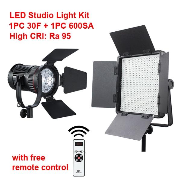 LED Studio Light Kit 1x CN-30F LED Spot Light+1x CN-600SA LED Panel Light Ra95 2.4G Wireless Remote Control 1x purc 12