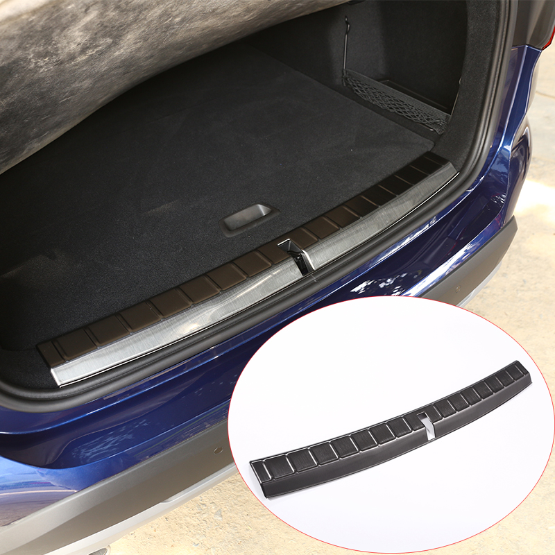 304 Stainless Rear Bumper Inner Sill Plate Protector Cover Trim Stickers For BMW X1 f48 2016 2017 Car accessories for toyota highlander iii 2014 2016 automobile stainless rear bumper cover decoration car styling stickers accessories