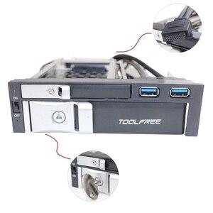 """Image 5 - 5.25 """"optische Dual Bay Tray Weniger Mobile Rack Gehäuse Für 2.5/3,5 Inch SATAT III HDD SSD Mit 2 Port USB 3,0 Hub Für Desktop PC"""