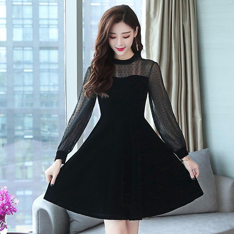 Pengpious black elegant dress female autumn outfit new sweet office lady lantern sleeve dress office lady
