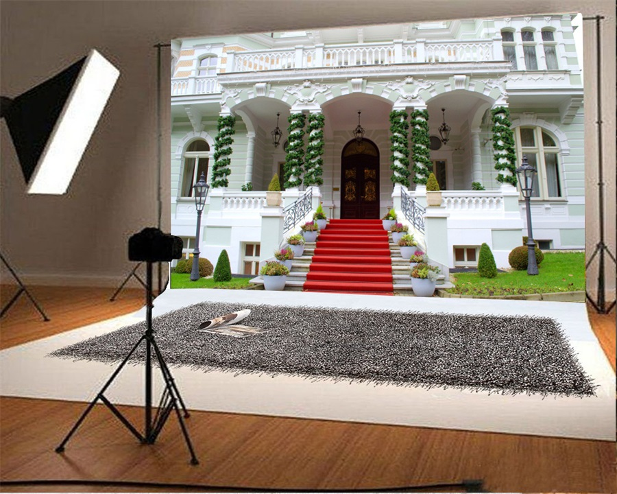 Laeacco Villa Arch Door Red Carpet Stairs Scene Photography Backdrops Vinyl Backdrop Custom Backgrounds Props For Photo Studio