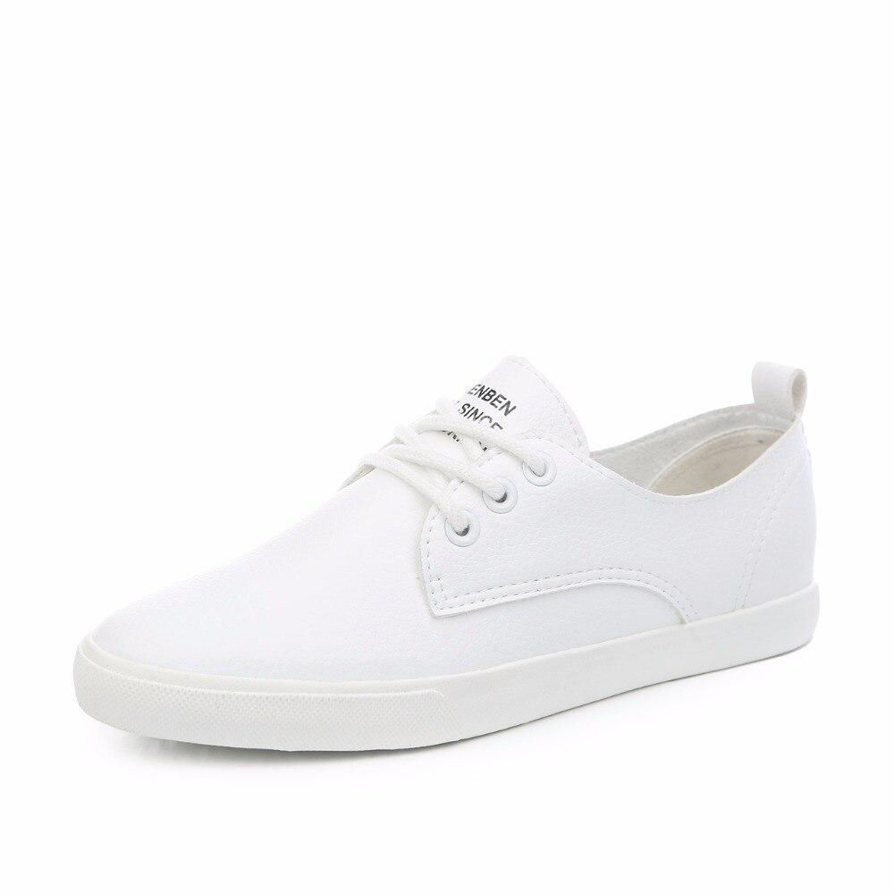 De Cuero Mujer Zapatos Cordones 2018 white Mocasines Casuales Para Nuevos Señoras Planos Black EqwSwg