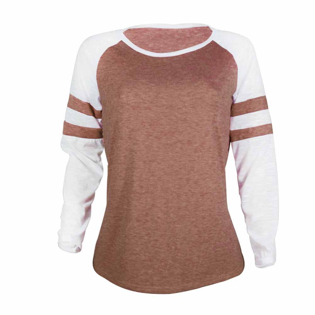Women Autumn Long sleeves Round neck stripe Stitching Pullover tops