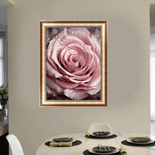 &% pink dew roses flower landscape Full drill DIY 5D round Diamond Painting mosaic crystal Cross Stitch Diamond Embroidery Kits