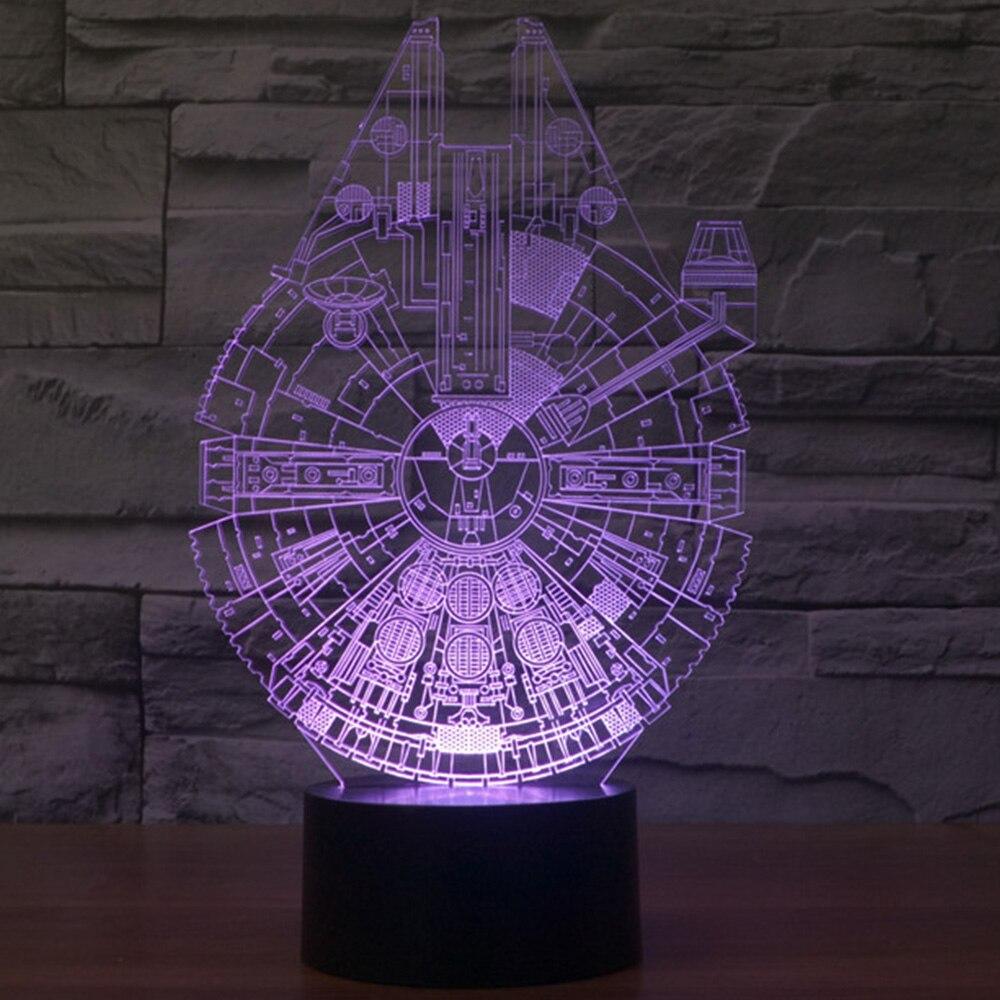 3D Nightlight Millennium Falcon Light Star Wars 3D Star Trek Decor Bulbing Lamp Gadget LED Lighting Home Child Gift