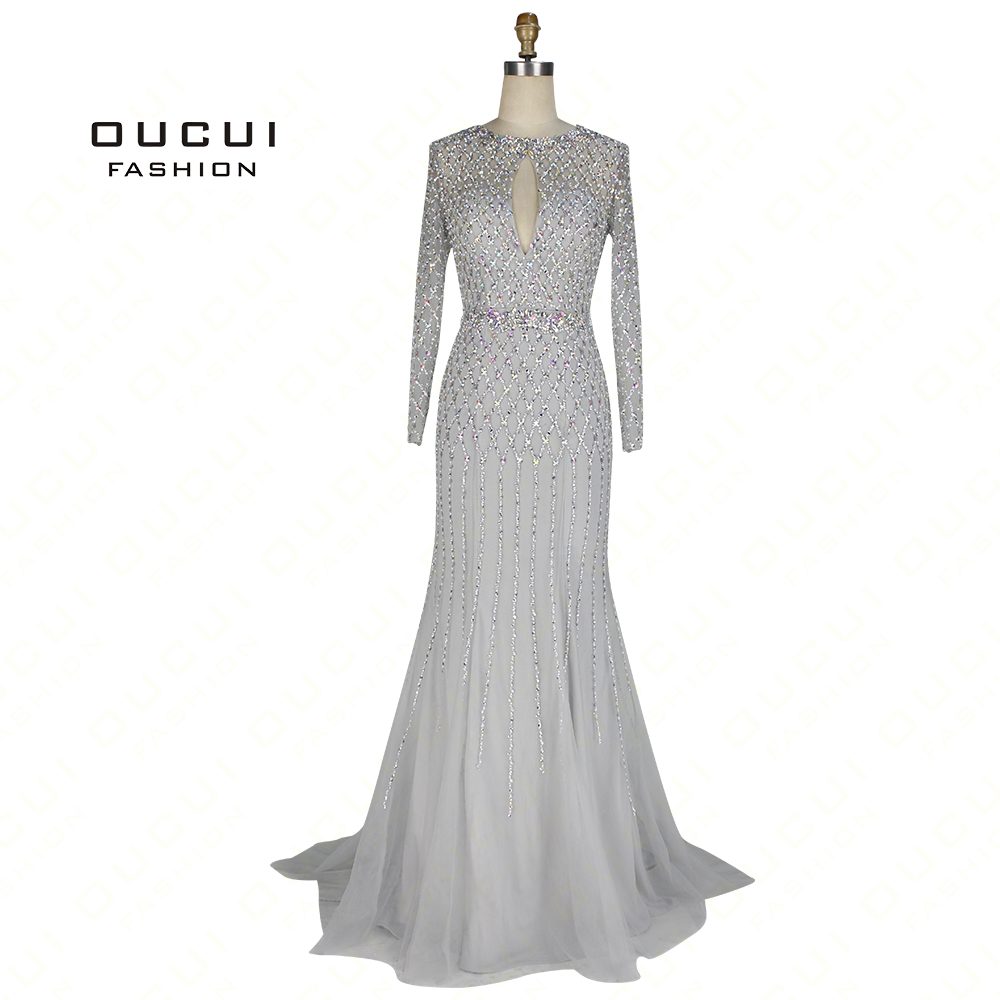 Real Photos Mermaid Hand Made Full Crystal Beading Long   Evening     Dress   Long Sleeve Backless OL103064