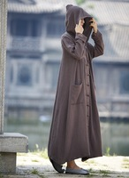 Women Long Sleeve Loose Plus Size Robe Trench Coat 2016 Solid Color Single Breasted Cardigan Vintage