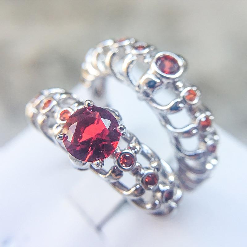 Ruby Wedding Gifts For Men: 2 Pcs Red Garnet Skull Bone Couple Rings For Women Men CZ
